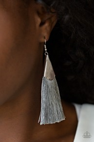In Full Plume - Silver Fringe Earrings