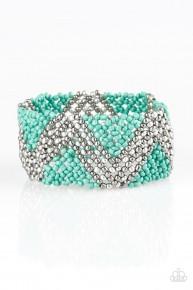 Desert Loom - Blue/Green Seed Bead Bracelet