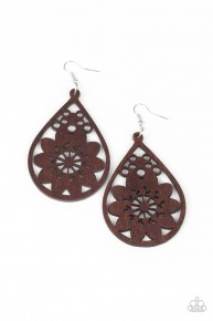 Flower Power - Brown Earrings