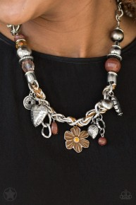 Charmed I am Sure - Brown Blockbuster Necklace