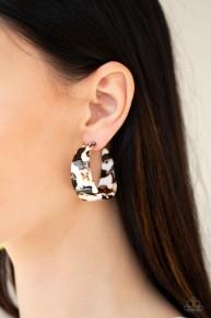 Havana Heat Wave - White Acrylic Hoop Earrings