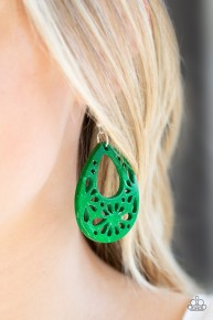 Merrily Marooned - Green Wooden Earrings