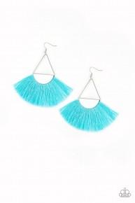 Modern Mayan - Blue Fringe Earrings