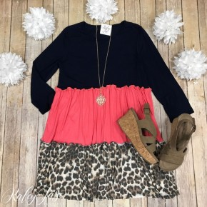 Navy/Coral Leopard Tiered Dress