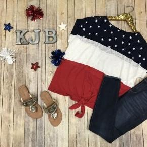 Patriotic Star Colorblock Top