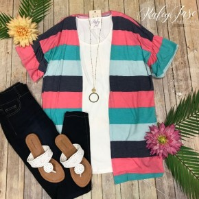 Mint/Fuchsia Stripe Ruffle Sleeve Cardigan