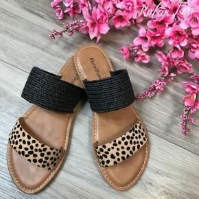 Double Strap Leopard Sandals