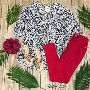 Ivory Colorful Leopard Dressy Vera Top