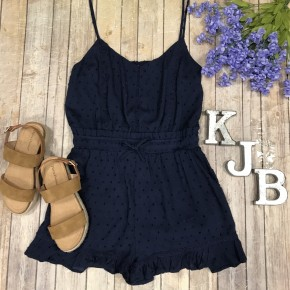 Navy Detailed Spaghetti Romper