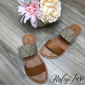 Chambray Double Strap Sandals