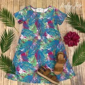Blue Tropical Short Sleeve Dress