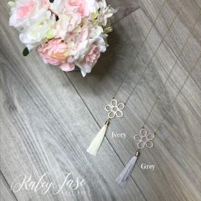 Reversible Flower Pendant Tassel Necklace #28