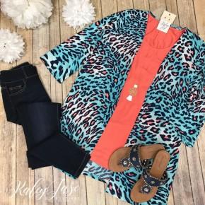 Mint/Coral Leopard Kimono