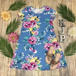 Soft Blue Floral Swing Dress