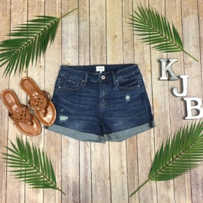 Special A Dark Mid Rise Distressed Shorts