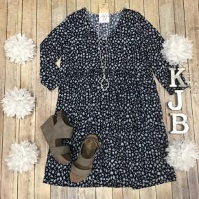 Navy/Aqua Leopard V Dress