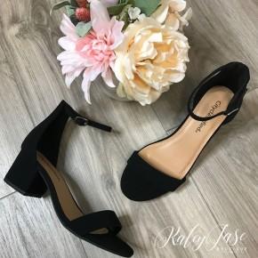 Low Heel Black Ankle Strap