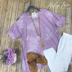 HM Lavender/Ivory Floral Open Shoulder Sharkbite