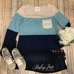Blue Colorblock Crochet Pocket Top