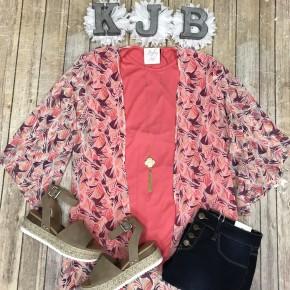 Rose Palm Leaf Sheer Open Slit Kimono