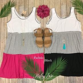 Colorblock Stripe Tiered Dress