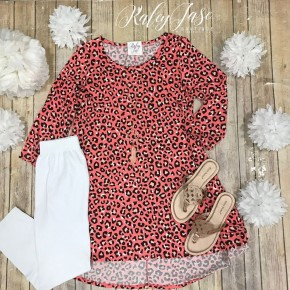 Coral Leopard Scoop Tunic