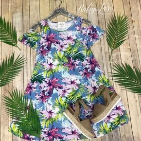Light Blue Tropical Open Shoulder Swing Dress