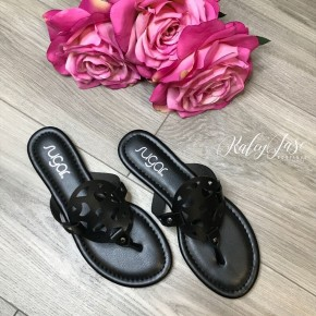 Black Cutout Sandals