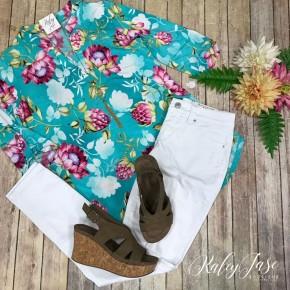 HM Aqua Floral Gabby Top