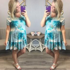 Aqua Blue Tropical Dress