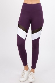 Plum Workout Leggings W/ Colorblock Detail