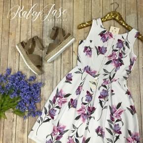 Ivory Lavender Floral Dress