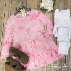 Pink Tie Dye Babydoll Top