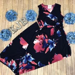 Dark Navy Wrap Floral Sleeveless Maxi