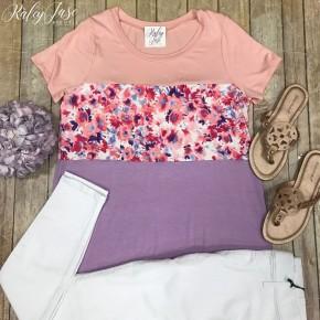 Colorblock Floral Top