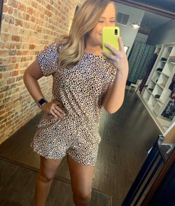 Blush Leopard Off Shoulder Romper