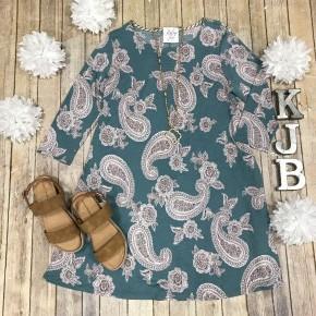 HM Teal/Brown Floral Paisley Dress