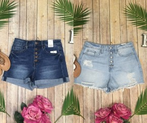 YMI Dream Denim Button Front Shorts