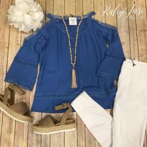 Blue Crochet Detail Cold Shoulder Top