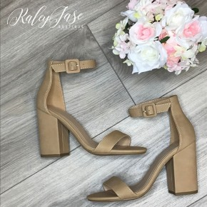 Nude Ankle Strap Heel