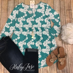 Mint/Ivory Babydoll Floral Tunic