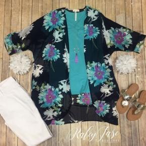 Navy Floral Sheer Kimono Set