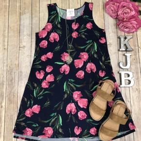 Navy/Pink Tulip Sleeveless Dress