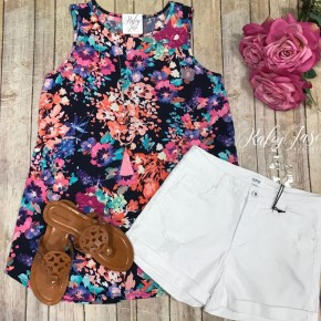 Bright Navy Floral Design Tunic Tank