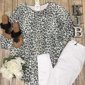 Sage Leopard Babydoll Top