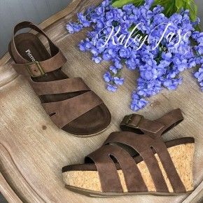 Brown Cutout Cross Over Wedges