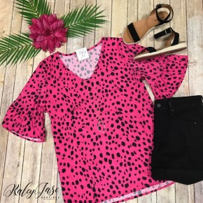 Fuchsia Spotted Dress Top