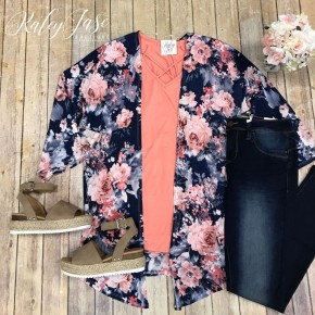 Navy Blush Floral Cardigan & Top Set (Purchased Separately)