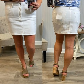 Cello White Denim Pull On Skirt