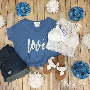 Love Slouchy Tie Front Top